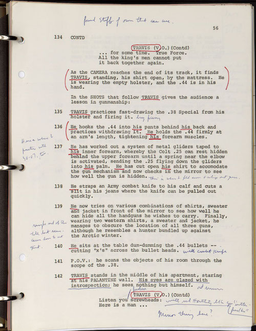 A typed page from the script of Taxi Drive with handwritten annotations by Robert De Niro in blue ink